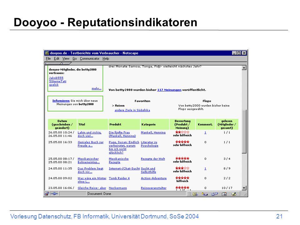 Vorlesung Datenschutz, FB Informatik, Universität Dortmund, SoSe 2004 22 Zahlungssysteme im E-Commerce Bezahlung als ein Bestandteil der Transaktionsbeziehung Es existieren eine Reihe verschiedener Zahlungssysteme bzw.