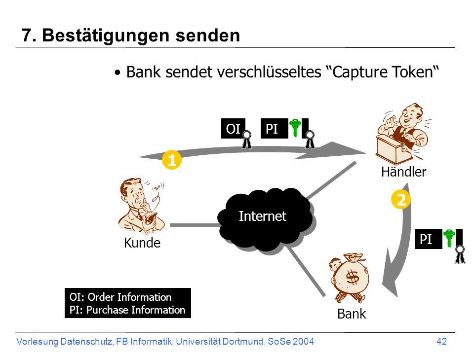 Vorlesung Datenschutz, FB Informatik, Universität Dortmund, SoSe 2004 43 SET - Bezahlungsablauf CardholderMerchant IssuerAcquirer Payment Gateway 1.) Invoice 2.) Duale Signatur 3.) SET Purchase Request 4.) SET Authorization Request Secure financial network Internet 5.) Autorisierungsanfrage 6.) Autorisierungsantwort 7.) SET Authori- zation Response 8.) SET Purchase Response 9.) Goods delivery SET Payment Capture Request Capture SET Payment Capture Response Abrechnung Clearing