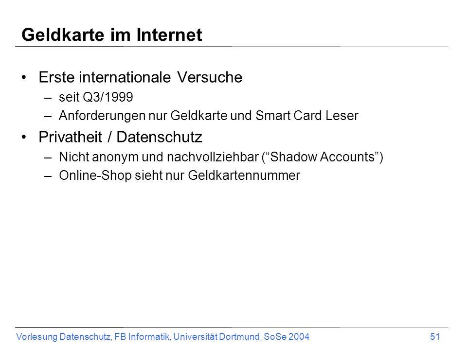 Vorlesung Datenschutz, FB Informatik, Universität Dortmund, SoSe 2004 52 Merchant Geldkarte Customer Geldkarte Loading Machine CustomerMerchant IssuerAcquirer Merchant Evidence Center Shadow Account Shadow Account a.