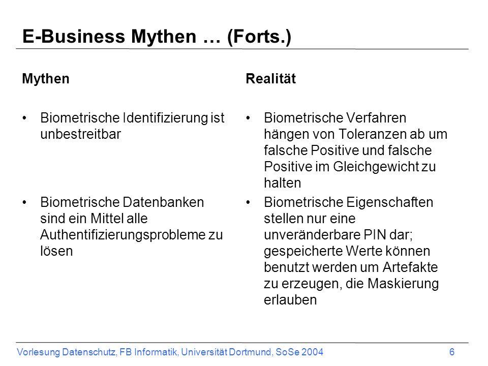 Vorlesung Datenschutz, FB Informatik, Universität Dortmund, SoSe 2004 7 Was ist Electronic Commerce.