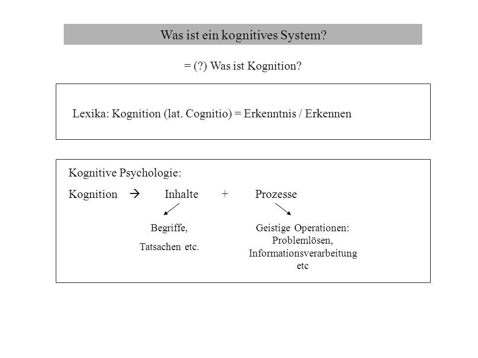 Was ist ein kognitives System? = (?) Was ist Kognition? Lexika: Kognition (lat. Cognitio) = Erkenntnis / Erkennen Kognitive Psychologie: Kognition Inh