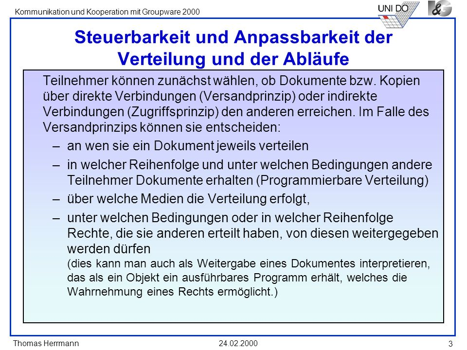 Thomas Herrmann Kommunikation und Kooperation mit Groupware 2000 24.02.2000 14 Konfliktlösung durch Negotiation von Anpassungsvorschlägen Individuum proposing Set of proposed items Proposing direct communication commenting reject abstainaccept counter proposal group System based negotiation * time out or voting completed negotiated proposal Items to be discussed Accepted items Rejected items Back to general usage * Team-Perspective Negotiation with another medium Mutual result