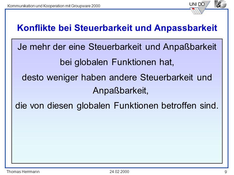 Thomas Herrmann Kommunikation und Kooperation mit Groupware 2000 24.02.2000 9 Konflikte bei Steuerbarkeit und Anpassbarkeit Je mehr der eine Steuerbar