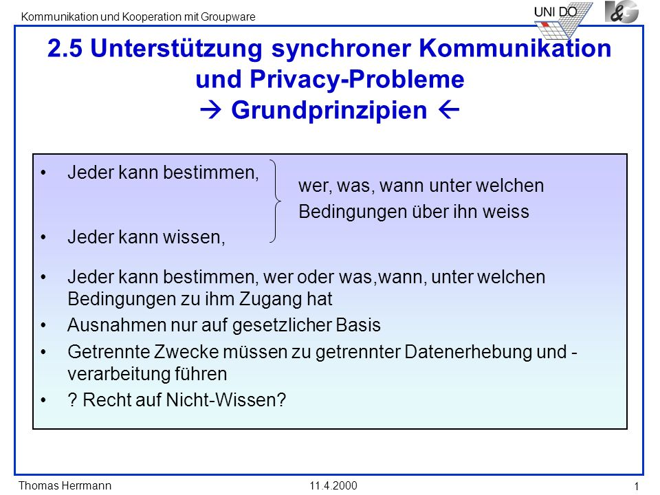 Thomas Herrmann Kommunikation und Kooperation mit Groupware 11.4.2000 1 2.5 Unterstützung synchroner Kommunikation und Privacy-Probleme Grundprinzipie