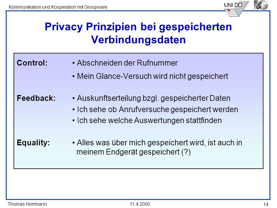 Thomas Herrmann Kommunikation und Kooperation mit Groupware 11.4.2000 14 Privacy Prinzipien bei gespeicherten Verbindungsdaten Control: Abschneiden de