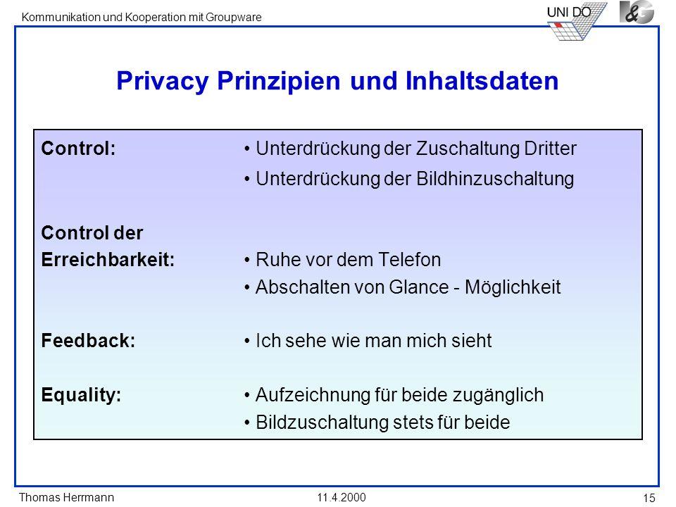 Thomas Herrmann Kommunikation und Kooperation mit Groupware 11.4.2000 15 Privacy Prinzipien und Inhaltsdaten Control: Unterdrückung der Zuschaltung Dr