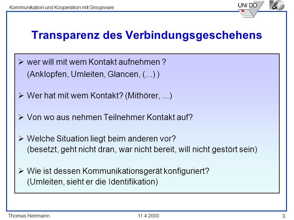 Thomas Herrmann Kommunikation und Kooperation mit Groupware 11.4.2000 14 Privacy Prinzipien bei gespeicherten Verbindungsdaten Control: Abschneiden der Rufnummer Mein Glance-Versuch wird nicht gespeichert Feedback: Auskunftserteilung bzgl.