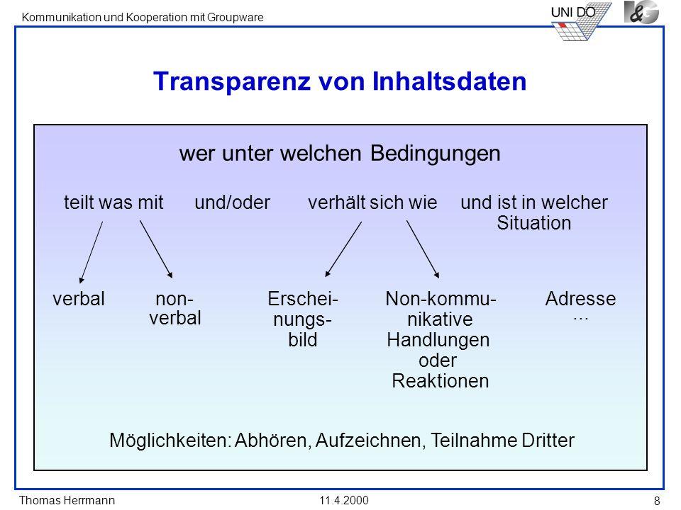 Thomas Herrmann Kommunikation und Kooperation mit Groupware 11.4.2000 19 Dilemmas bei Privacy Prinzipien I - Joint Editing Dilemma: A muss wissen können, ob B Inhalt I (über A) weiß.