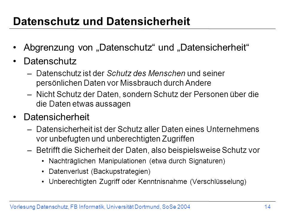 Vorlesung Datenschutz, FB Informatik, Universität Dortmund, SoSe 2004 14 Datenschutz und Datensicherheit Abgrenzung von Datenschutz und Datensicherhei