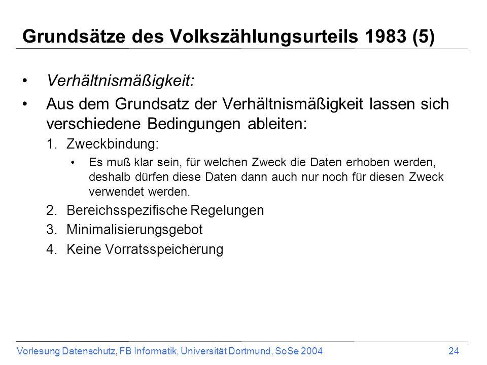 Vorlesung Datenschutz, FB Informatik, Universität Dortmund, SoSe 2004 24 Grundsätze des Volkszählungsurteils 1983 (5) Verhältnismäßigkeit: Aus dem Gru