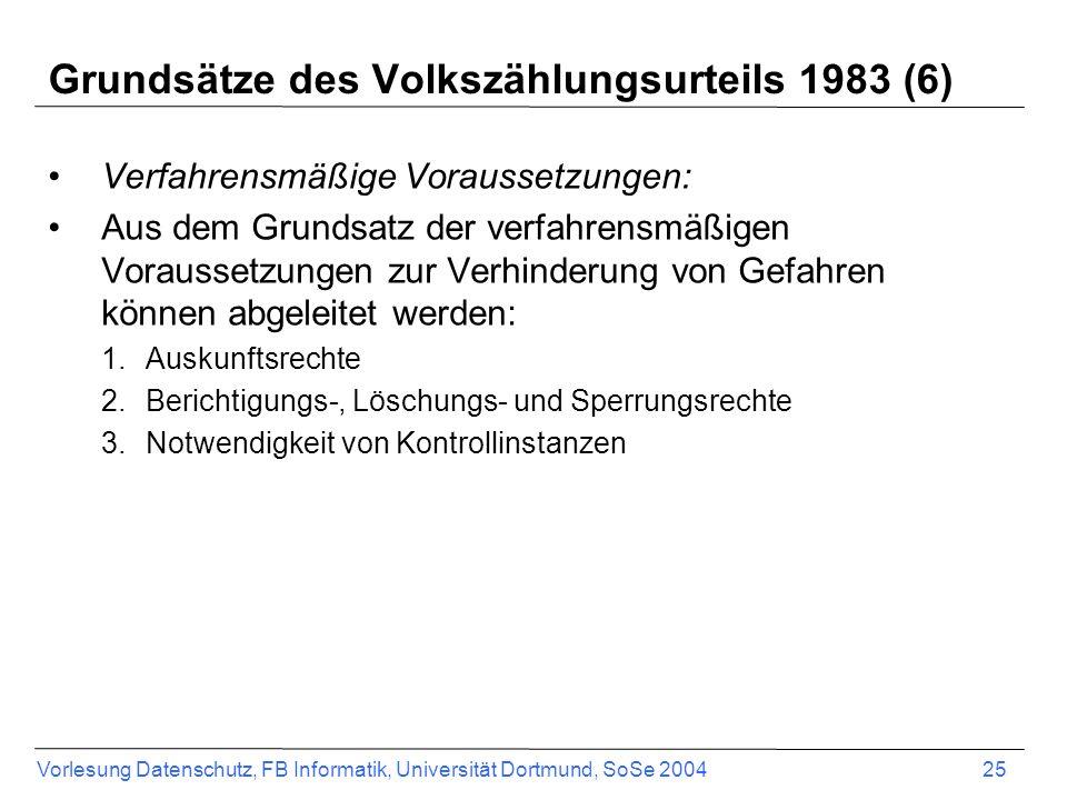 Vorlesung Datenschutz, FB Informatik, Universität Dortmund, SoSe 2004 25 Grundsätze des Volkszählungsurteils 1983 (6) Verfahrensmäßige Voraussetzungen