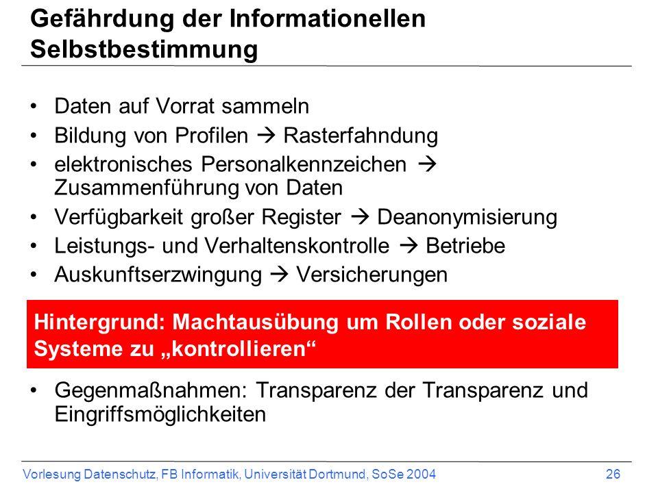 Vorlesung Datenschutz, FB Informatik, Universität Dortmund, SoSe 2004 26 Gefährdung der Informationellen Selbstbestimmung Daten auf Vorrat sammeln Bil