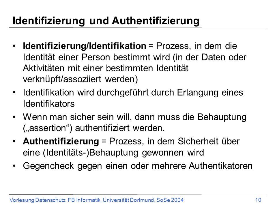 Vorlesung Datenschutz, FB Informatik, Universität Dortmund, SoSe 2004 10 Identifizierung und Authentifizierung Identifizierung/Identifikation = Prozess, in dem die Identität einer Person bestimmt wird (in der Daten oder Aktivitäten mit einer bestimmten Identität verknüpft/assoziiert werden) Identifikation wird durchgeführt durch Erlangung eines Identifikators Wenn man sicher sein will, dann muss die Behauptung (assertion) authentifiziert werden.