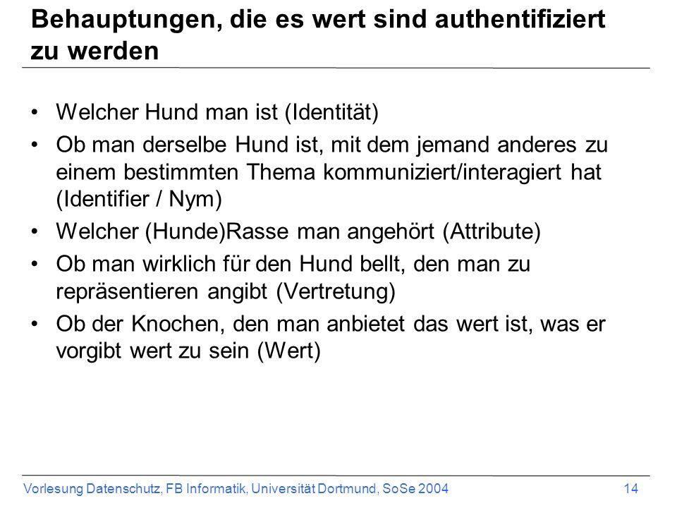 Vorlesung Datenschutz, FB Informatik, Universität Dortmund, SoSe 2004 14 Behauptungen, die es wert sind authentifiziert zu werden Welcher Hund man ist (Identität) Ob man derselbe Hund ist, mit dem jemand anderes zu einem bestimmten Thema kommuniziert/interagiert hat (Identifier / Nym) Welcher (Hunde)Rasse man angehört (Attribute) Ob man wirklich für den Hund bellt, den man zu repräsentieren angibt (Vertretung) Ob der Knochen, den man anbietet das wert ist, was er vorgibt wert zu sein (Wert)