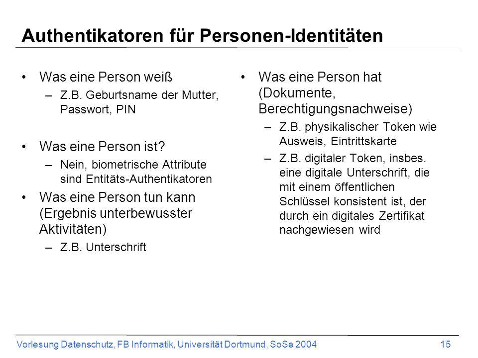 Vorlesung Datenschutz, FB Informatik, Universität Dortmund, SoSe 2004 15 Authentikatoren für Personen-Identitäten Was eine Person weiß –Z.B. Geburtsna