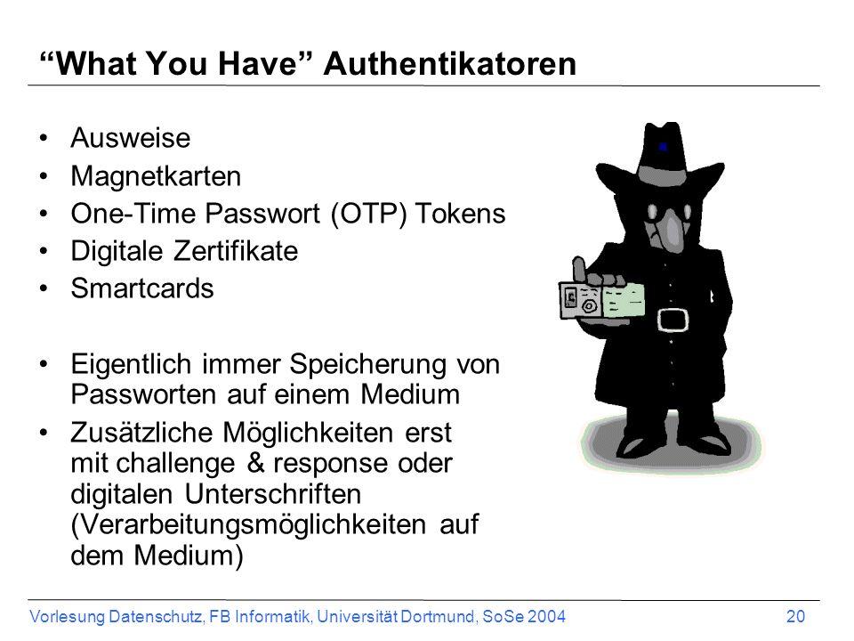 Vorlesung Datenschutz, FB Informatik, Universität Dortmund, SoSe 2004 20 What You Have Authentikatoren Ausweise Magnetkarten One-Time Passwort (OTP) T