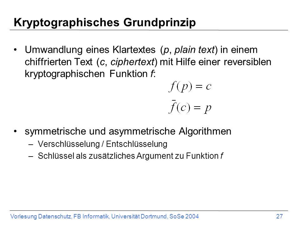 Vorlesung Datenschutz, FB Informatik, Universität Dortmund, SoSe 2004 27 Kryptographisches Grundprinzip Umwandlung eines Klartextes (p, plain text) in einem chiffrierten Text (c, ciphertext) mit Hilfe einer reversiblen kryptographischen Funktion f: symmetrische und asymmetrische Algorithmen –Verschlüsselung / Entschlüsselung –Schlüssel als zusätzliches Argument zu Funktion f