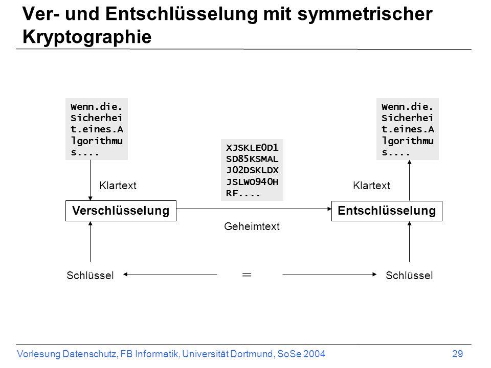 Vorlesung Datenschutz, FB Informatik, Universität Dortmund, SoSe 2004 29 Ver- und Entschlüsselung mit symmetrischer Kryptographie Verschlüsselung Entschlüsselung Wenn.die.