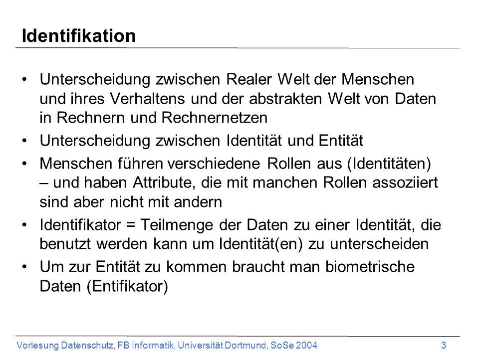 Vorlesung Datenschutz, FB Informatik, Universität Dortmund, SoSe 2004 3 Identifikation Unterscheidung zwischen Realer Welt der Menschen und ihres Verh