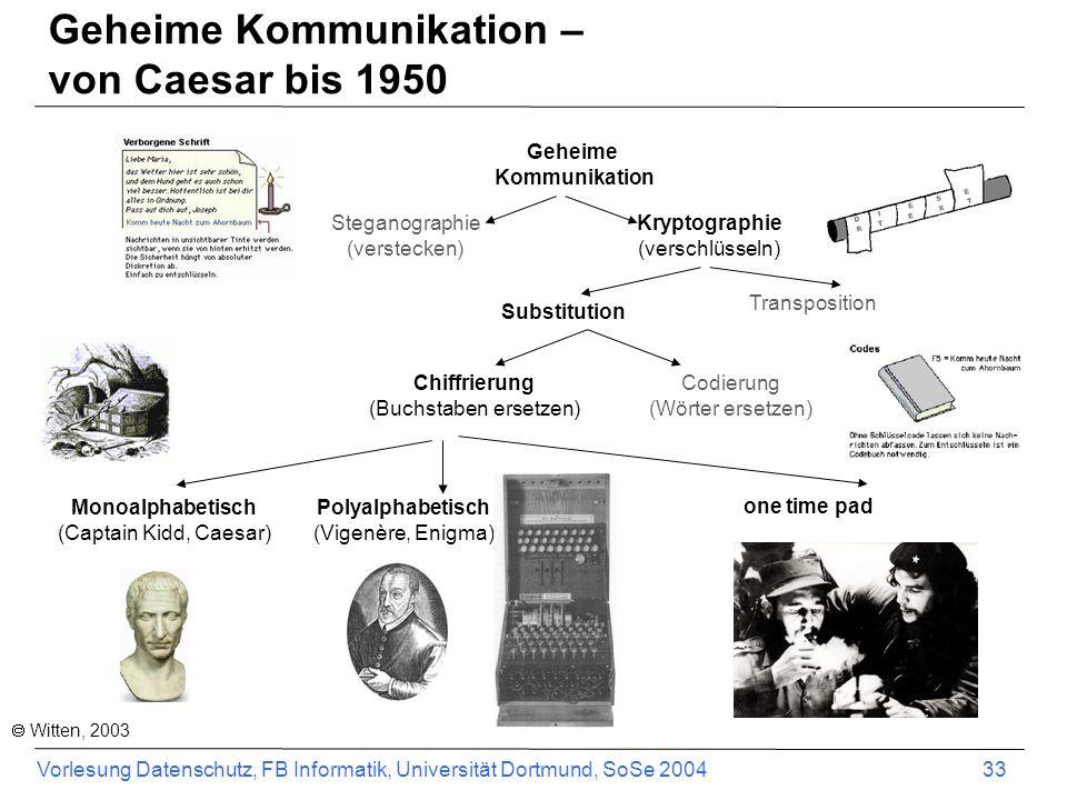 Vorlesung Datenschutz, FB Informatik, Universität Dortmund, SoSe 2004 33 Geheime Kommunikation Steganographie (verstecken) Kryptographie (verschlüsseln) Substitution Transposition Chiffrierung (Buchstaben ersetzen) Codierung (Wörter ersetzen) Monoalphabetisch (Captain Kidd, Caesar) one time pad Polyalphabetisch (Vigenère, Enigma) Witten, 2003 Geheime Kommunikation – von Caesar bis 1950