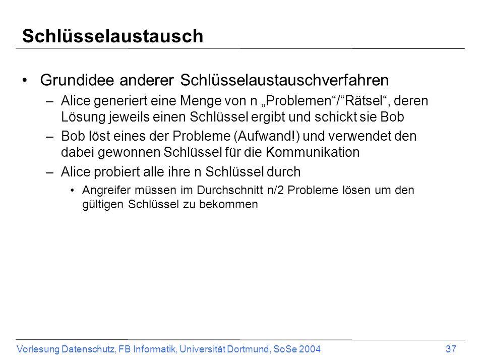 Vorlesung Datenschutz, FB Informatik, Universität Dortmund, SoSe 2004 37 Schlüsselaustausch Grundidee anderer Schlüsselaustauschverfahren –Alice generiert eine Menge von n Problemen/Rätsel, deren Lösung jeweils einen Schlüssel ergibt und schickt sie Bob –Bob löst eines der Probleme (Aufwand!) und verwendet den dabei gewonnen Schlüssel für die Kommunikation –Alice probiert alle ihre n Schlüssel durch Angreifer müssen im Durchschnitt n/2 Probleme lösen um den gültigen Schlüssel zu bekommen