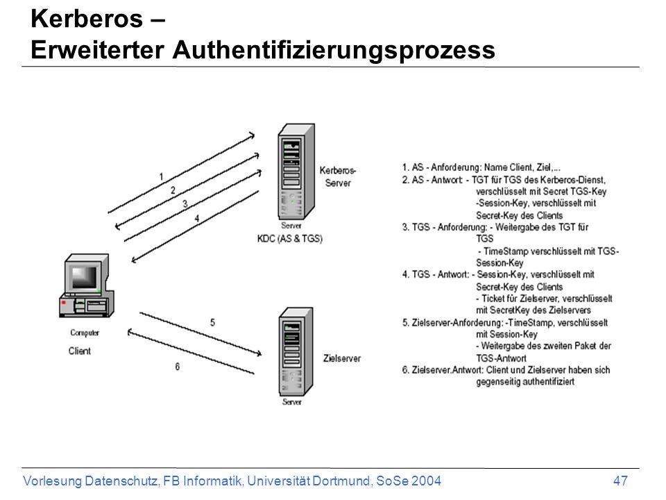 Vorlesung Datenschutz, FB Informatik, Universität Dortmund, SoSe 2004 47 Kerberos – Erweiterter Authentifizierungsprozess