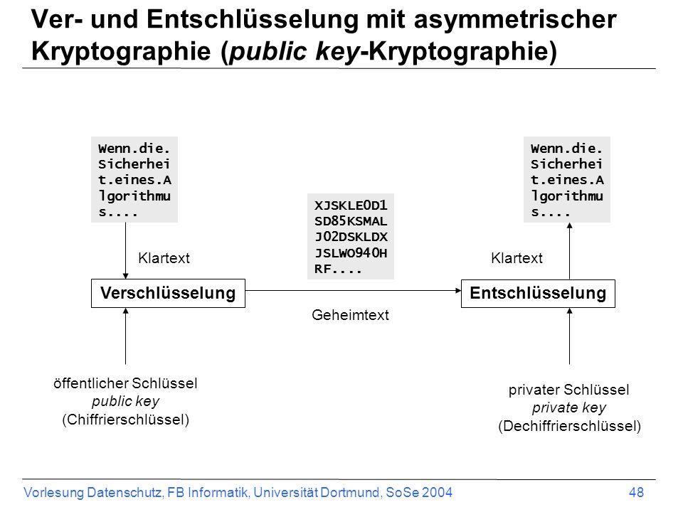 Vorlesung Datenschutz, FB Informatik, Universität Dortmund, SoSe 2004 48 Ver- und Entschlüsselung mit asymmetrischer Kryptographie (public key-Kryptog