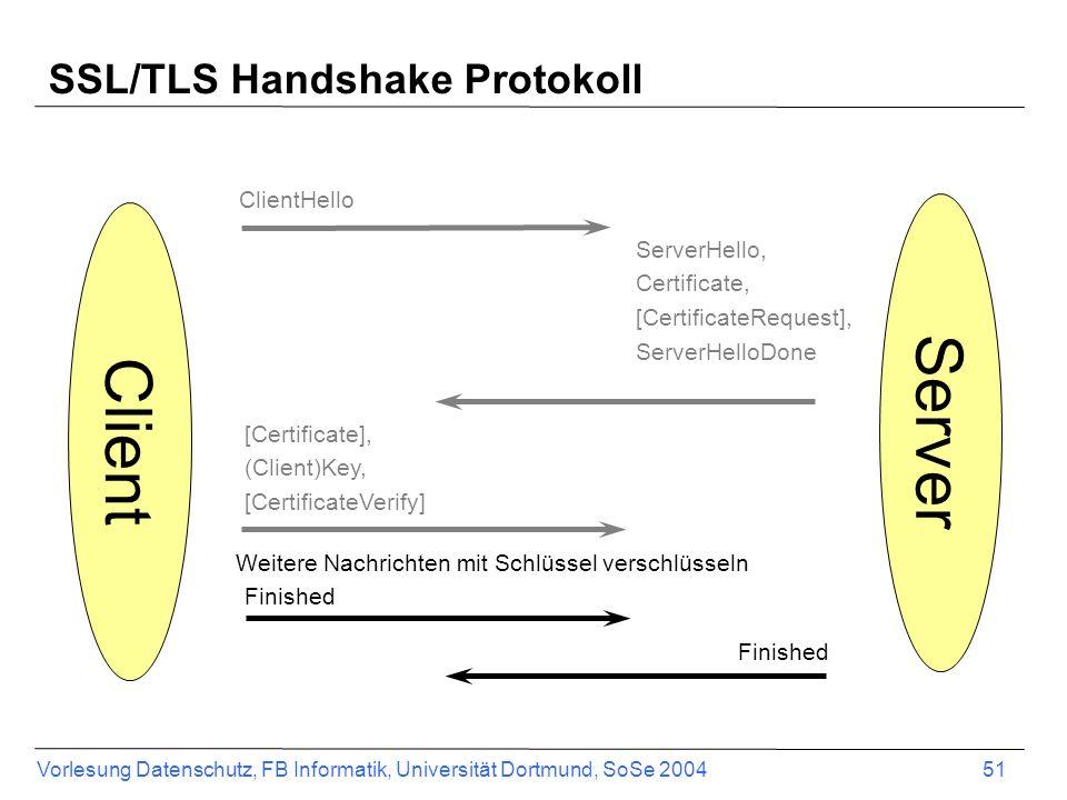 Vorlesung Datenschutz, FB Informatik, Universität Dortmund, SoSe 2004 51 SSL/TLS Handshake Protokoll Client ClientHello ServerHello, Certificate, [CertificateRequest], ServerHelloDone Server [Certificate], (Client)Key, [CertificateVerify] Finished Weitere Nachrichten mit Schlüssel verschlüsseln Finished