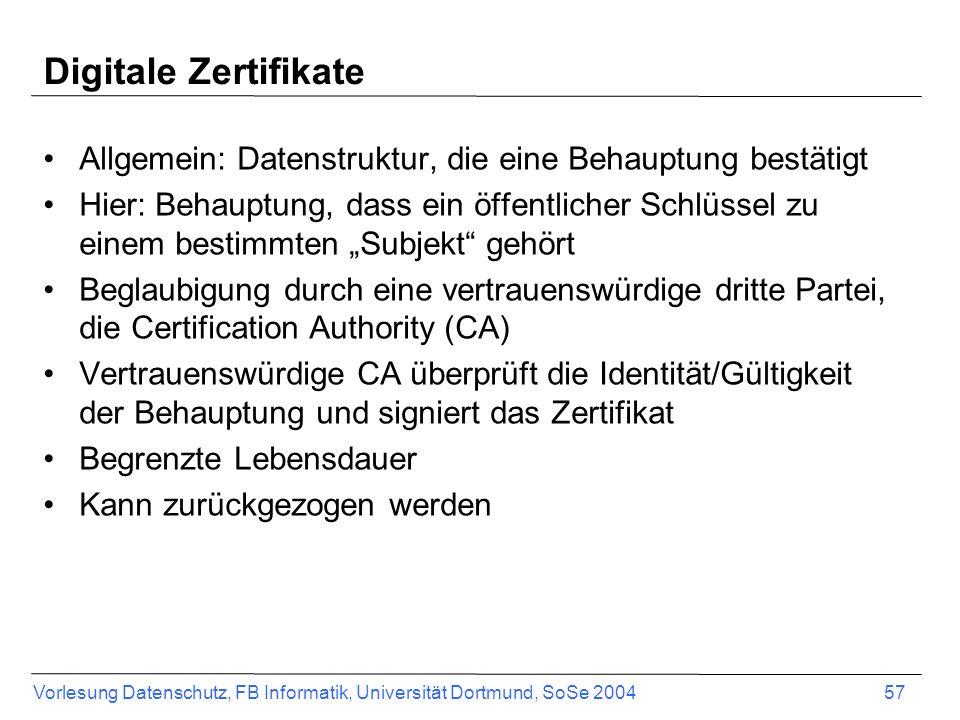 Vorlesung Datenschutz, FB Informatik, Universität Dortmund, SoSe 2004 57 Digitale Zertifikate Allgemein: Datenstruktur, die eine Behauptung bestätigt Hier: Behauptung, dass ein öffentlicher Schlüssel zu einem bestimmten Subjekt gehört Beglaubigung durch eine vertrauenswürdige dritte Partei, die Certification Authority (CA) Vertrauenswürdige CA überprüft die Identität/Gültigkeit der Behauptung und signiert das Zertifikat Begrenzte Lebensdauer Kann zurückgezogen werden