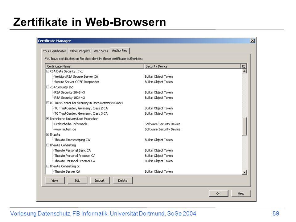 Vorlesung Datenschutz, FB Informatik, Universität Dortmund, SoSe 2004 59 Zertifikate in Web-Browsern