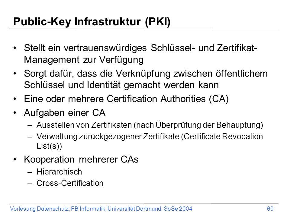 Vorlesung Datenschutz, FB Informatik, Universität Dortmund, SoSe 2004 60 Public-Key Infrastruktur (PKI) Stellt ein vertrauenswürdiges Schlüssel- und Zertifikat- Management zur Verfügung Sorgt dafür, dass die Verknüpfung zwischen öffentlichem Schlüssel und Identität gemacht werden kann Eine oder mehrere Certification Authorities (CA) Aufgaben einer CA –Ausstellen von Zertifikaten (nach Überprüfung der Behauptung) –Verwaltung zurückgezogener Zertifikate (Certificate Revocation List(s)) Kooperation mehrerer CAs –Hierarchisch –Cross-Certification