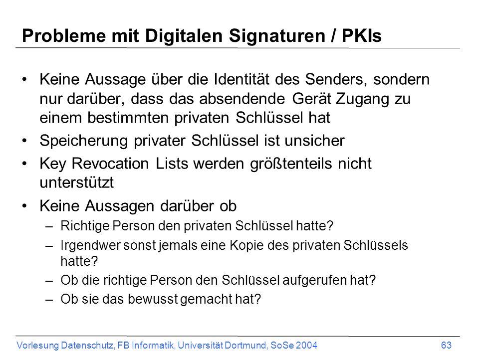 Vorlesung Datenschutz, FB Informatik, Universität Dortmund, SoSe 2004 63 Probleme mit Digitalen Signaturen / PKIs Keine Aussage über die Identität des