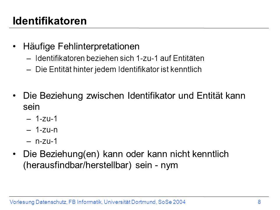 Vorlesung Datenschutz, FB Informatik, Universität Dortmund, SoSe 2004 8 Identifikatoren Häufige Fehlinterpretationen –Identifikatoren beziehen sich 1-zu-1 auf Entitäten –Die Entität hinter jedem Identifikator ist kenntlich Die Beziehung zwischen Identifikator und Entität kann sein –1-zu-1 –1-zu-n –n-zu-1 Die Beziehung(en) kann oder kann nicht kenntlich (herausfindbar/herstellbar) sein - nym