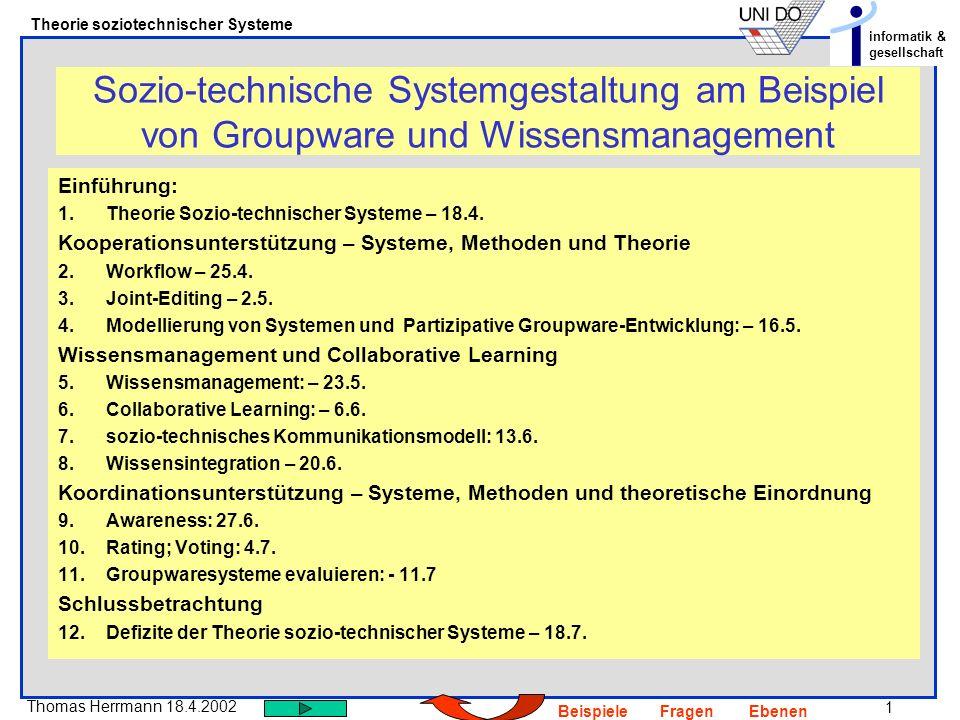1 Thomas Herrmann 18.4.2002 Theorie soziotechnischer Systeme informatik & gesellschaft BeispieleFragenEbenen Sozio-technische Systemgestaltung am Beis