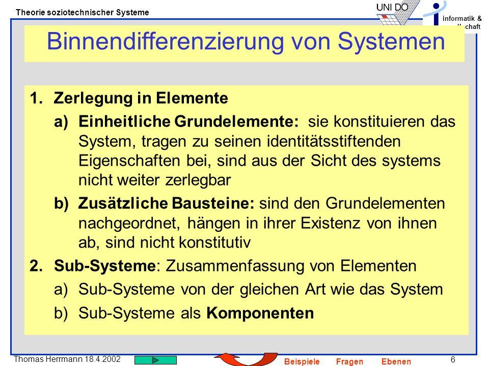 7 Thomas Herrmann 18.4.2002 Theorie soziotechnischer Systeme informatik & gesellschaft BeispieleFragenEbenen Kennzeichen sozialer Systeme 1.Soziale Systeme bestehen primär aus einem Geflecht von Kommunikationen (Luhmann), 2.sie bestehen nur sekundär aus Rollen oder Gruppen etc., die von Kommunikationen hervorgebracht werden 3.Das Verhältnis zwischen Kommunikationen ist von doppelter Kontingenz (Parsons) gekennzeichnet 4.Sie sind informatorisch und operational geschlossen 5.Autopoiese (Maturna/ Varela): Kommunikation schafft ständig die Möglichkeit neuer Kommunikation 6.Soziale Systeme entwickeln ein Sinnsystem 7.Selbstbewusstsein: Selbstbestimmtes Entscheiden, wer oder was dazugehört.