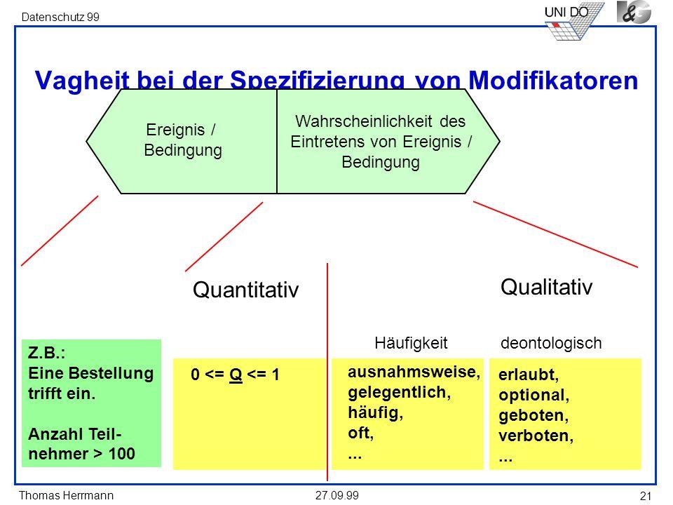 Thomas Herrmann Datenschutz 99 27.09.99 21 Vagheit bei der Spezifizierung von Modifikatoren Ereignis / Bedingung Wahrscheinlichkeit des Eintretens von Ereignis / Bedingung Häufigkeit ausnahmsweise, gelegentlich, häufig, oft,...
