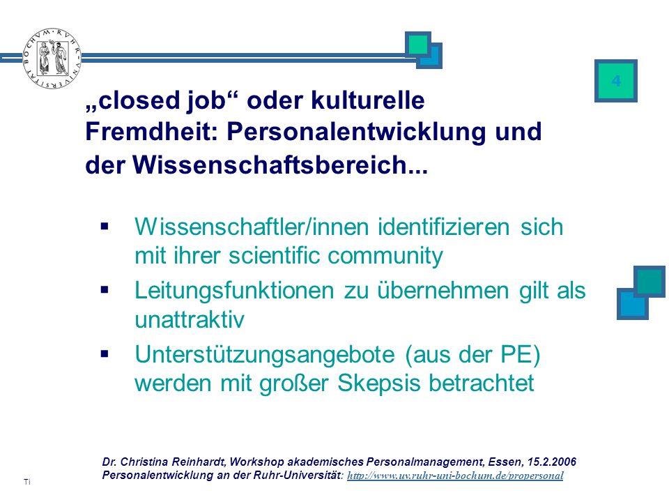 Dr. Christina Reinhardt, Workshop akademisches Personalmanagement, Essen, 15.2.2006 Personalentwicklung an der Ruhr-Universität: http://www.uv.ruhr-un