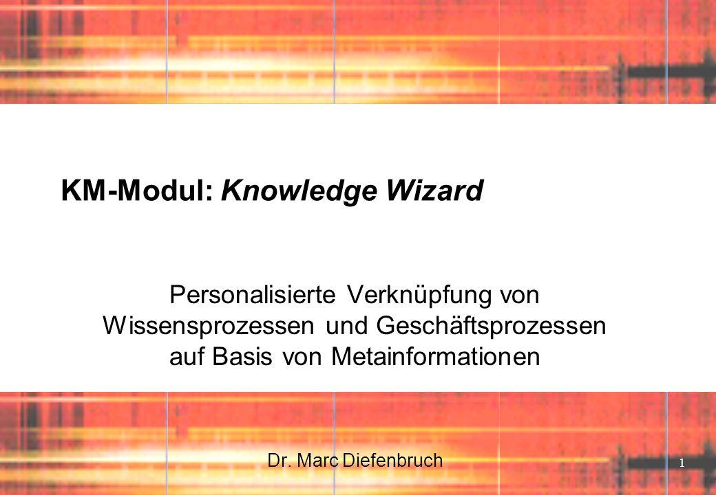 1 KM-Modul: Knowledge Wizard Personalisierte Verknüpfung von Wissensprozessen und Geschäftsprozessen auf Basis von Metainformationen Dr. Marc Diefenbr
