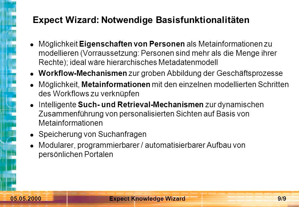 05.05.2000Expect Knowledge Wizard9/9 Expect Wizard: Notwendige Basisfunktionalitäten Möglichkeit Eigenschaften von Personen als Metainformationen zu m