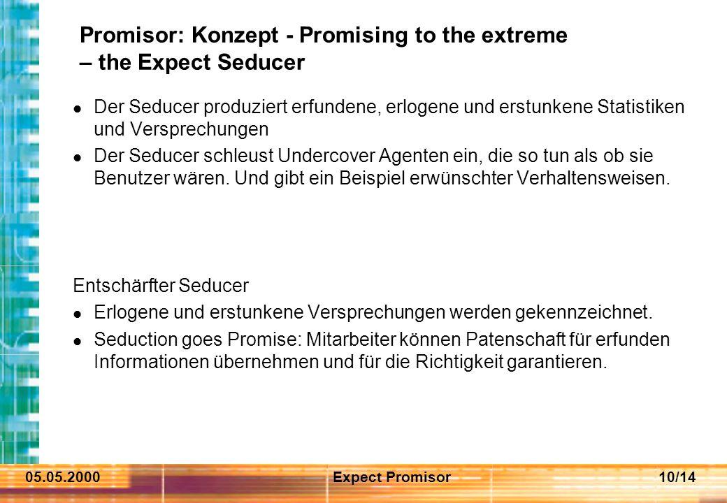 05.05.2000Expect Promisor10/14 Promisor: Konzept - Promising to the extreme – the Expect Seducer Der Seducer produziert erfundene, erlogene und erstun