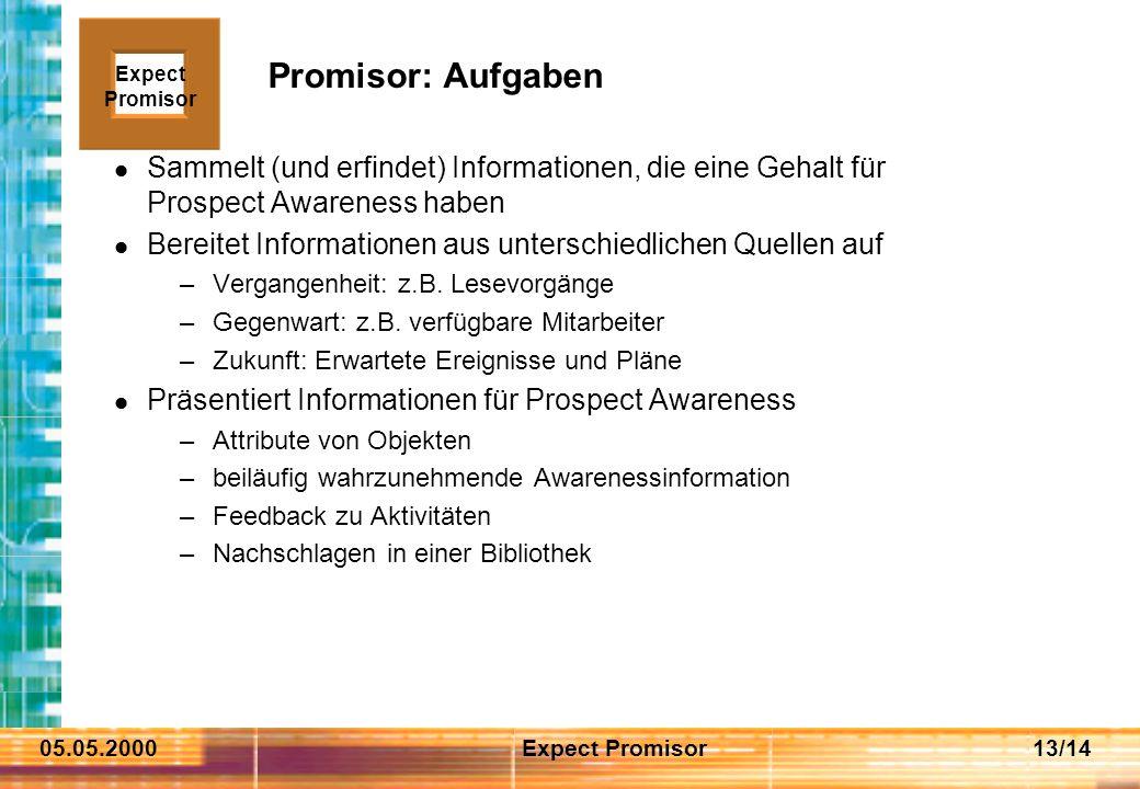 05.05.2000Expect Promisor13/14 Promisor: Aufgaben Sammelt (und erfindet) Informationen, die eine Gehalt für Prospect Awareness haben Bereitet Informationen aus unterschiedlichen Quellen auf –Vergangenheit: z.B.