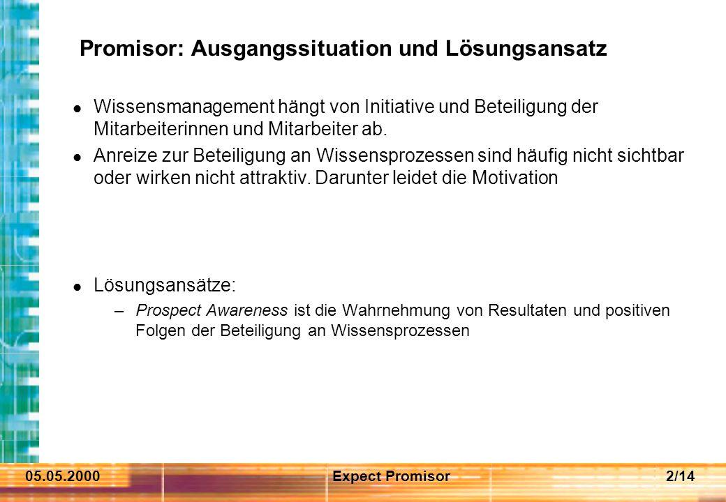 05.05.2000Expect Promisor2/14 Promisor: Ausgangssituation und Lösungsansatz Wissensmanagement hängt von Initiative und Beteiligung der Mitarbeiterinnen und Mitarbeiter ab.