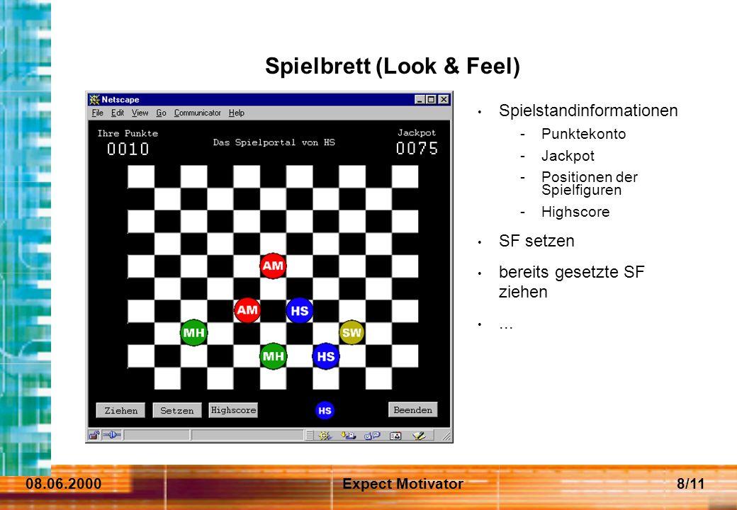 08.06.2000Expect Motivator8/11 Spielstandinformationen -Punktekonto -Jackpot -Positionen der Spielfiguren -Highscore SF setzen bereits gesetzte SF ziehen...