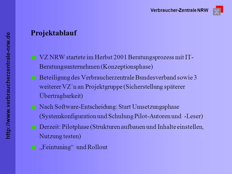 http://www.verbraucherzentrale-nrw.de Verbraucher-Zentrale NRW VZ NRW startete im Herbst 2001 Beratungsprozess mit IT- Beratungsunternehmen (Konzeptio