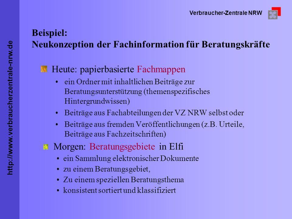 http://www.verbraucherzentrale-nrw.de Verbraucher-Zentrale NRW Beispiel: Neukonzeption der Fachinformation für Beratungskräfte Heute: papierbasierte F