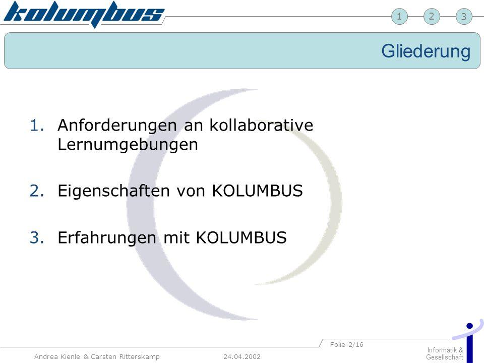 23 24.04.2002 Informatik & Gesellschaft 1 Andrea Kienle & Carsten Ritterskamp Folie 2/16 Gliederung 1.Anforderungen an kollaborative Lernumgebungen 2.