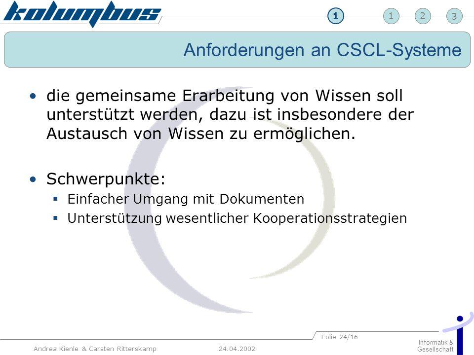 23 24.04.2002 Informatik & Gesellschaft 1 Andrea Kienle & Carsten Ritterskamp Folie 24/16 Anforderungen an CSCL-Systeme die gemeinsame Erarbeitung von