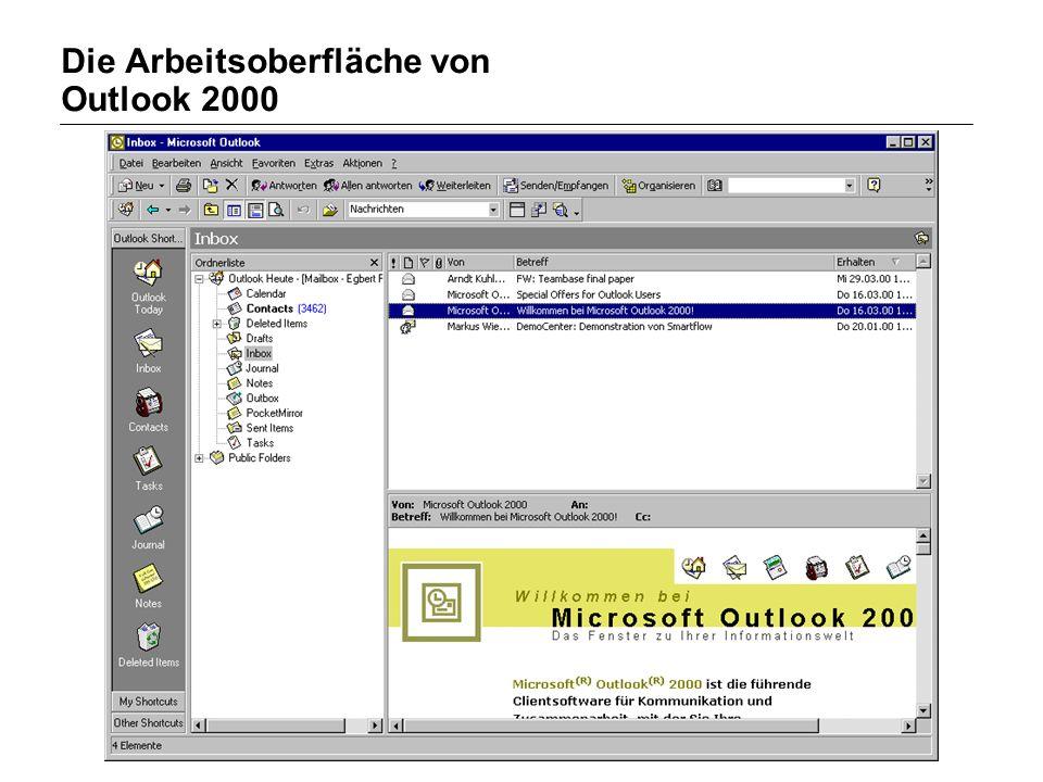 ISST Fraunhofer Institut Software- und Systemtechnik Die Arbeitsoberfläche von Outlook 2000