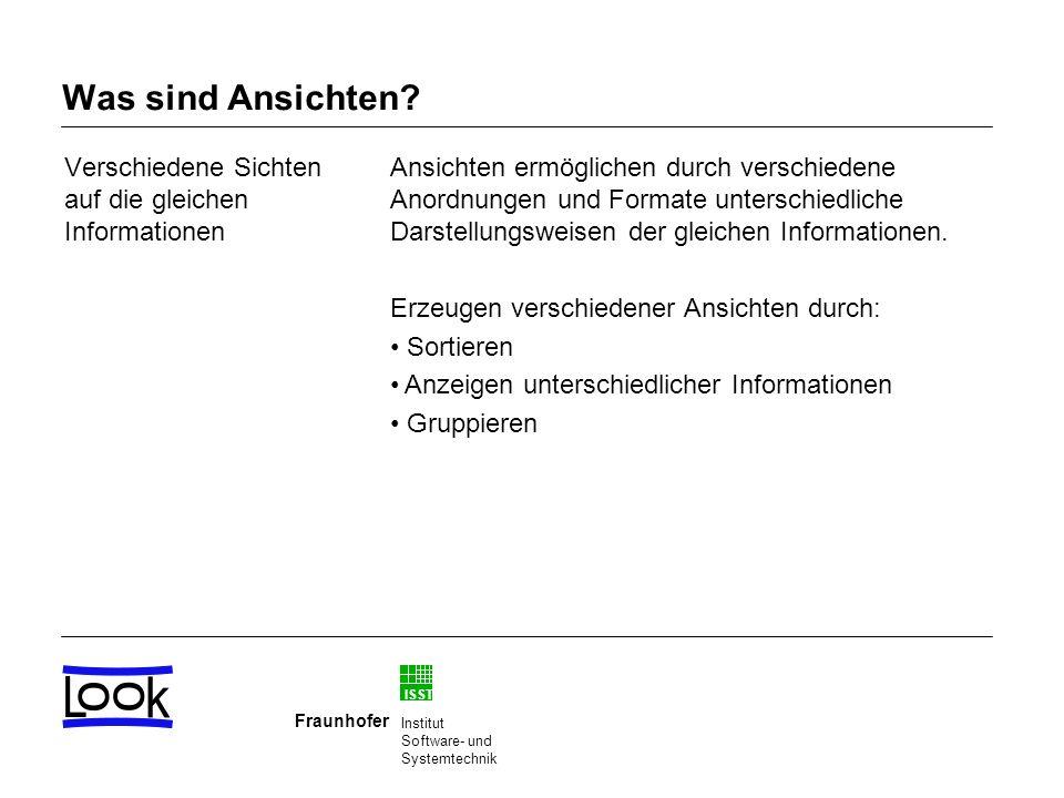 ISST Fraunhofer Institut Software- und Systemtechnik Was sind Ansichten? Verschiedene Sichten auf die gleichen Informationen Ansichten ermöglichen dur