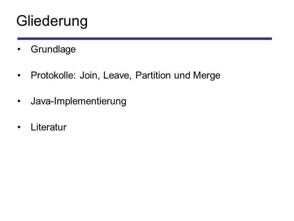 Gliederung Grundlage Protokolle: Join, Leave, Partition und Merge Java-Implementierung Literatur